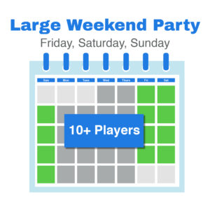 Calendar page showing green squares for Friday Saturday and Sunday for large weekend party bookings