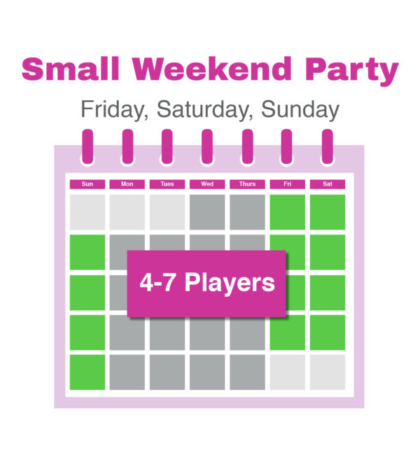 Calendar page showing green squares for Friday Saturday and Sunday for small weekend party bookings