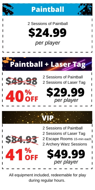 prices paintball laser tag and more