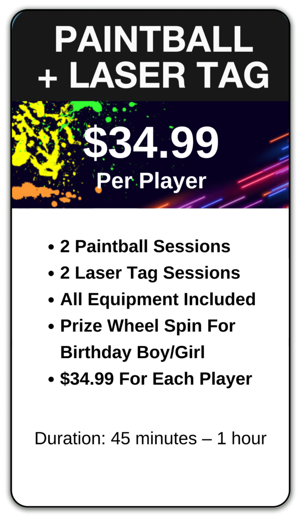Paintball and Laser Tag birthday party package