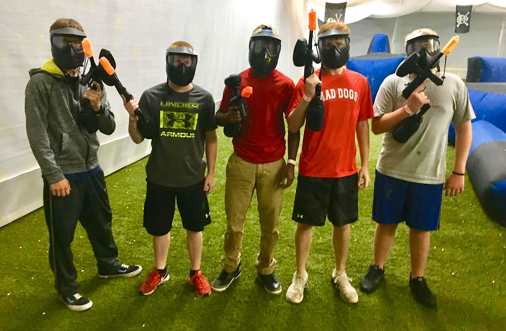 Youth Group boys indoor paintball